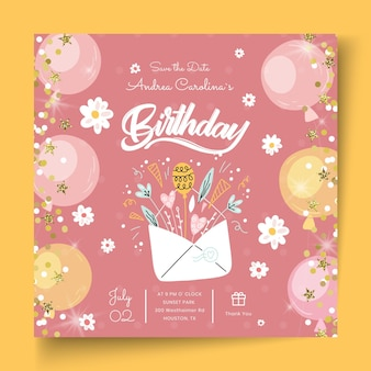 Birthday squared flyer template