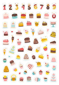 Birthday sticker pack collection of holiday illustrations for party wedding with cakes cupcakes