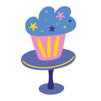 생일 달콤한 구운 케이크 아이콘입니다. 머핀. 생일 파티. 포스터, 카드, 배너, 초대장을 위한 손으로 케이크를 그립니다. 휴일 축하, 파티 장식. 만화 스타일의 벡터 일러스트 레이 션.