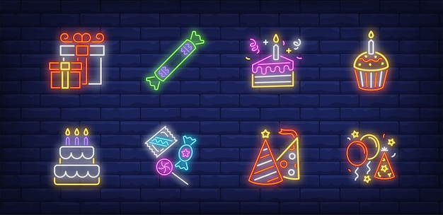 Birthday symbols set in neon style