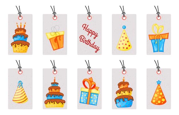 Бирки на день рождения для праздничных предметов. мультяшный стиль. вектор.
