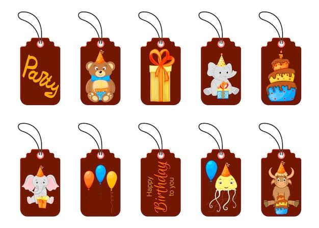 Birthday tags for holiday items. cartoon style. vector.