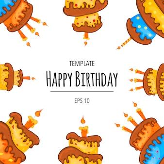 ケーキ付きのテキストの誕生日テンプレート。漫画のスタイル。