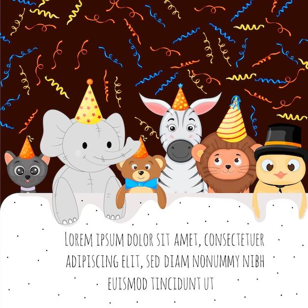 귀여운 동물이 있는 텍스트의 생일 템플릿입니다. 만화 스타일입니다. 벡터 일러스트 레이 션.