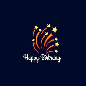 Шаблон дня рождения для текста с фейерверком. мультяшный стиль. векторная иллюстрация.