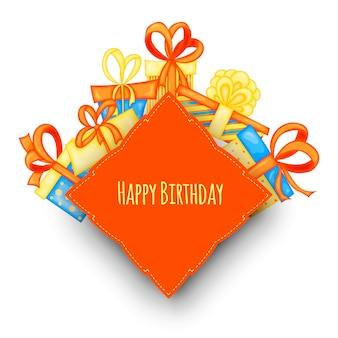 흰색 배경에 선물 상자가 있는 텍스트의 생일 템플릿입니다. 만화 스타일입니다. 벡터.