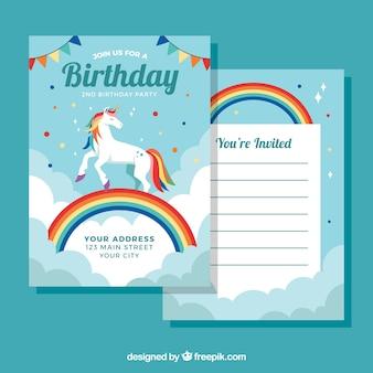 Шаблон с днем рождения с симпатичным единорогом над радугой