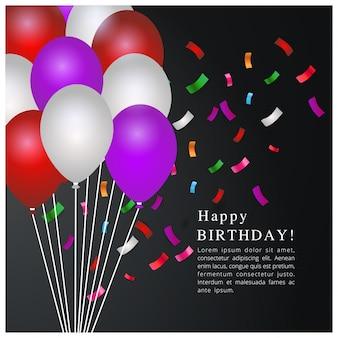 風船と誕生日のテンプレート