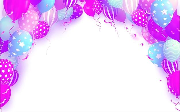 白い背景の上のカラフルな誕生日の風船と誕生日のテンプレート