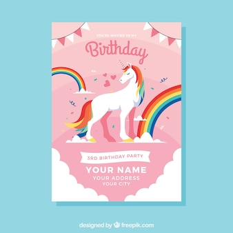 Birthday template with a unicorn and rainbow