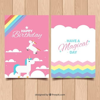 Birthday template with unicorns