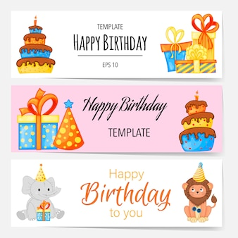 Birthday templates for text with holiday attributes. cartoon style. vector illustration.