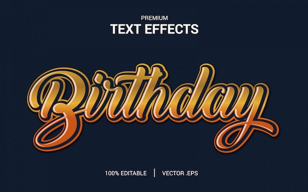 Birthday text effect vectors, set elegant pink purple abstract birthday text effect
