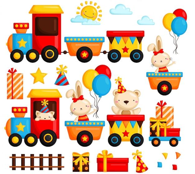Birthday train vector set