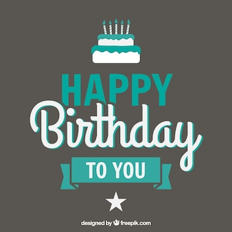 Birthday turquoise lettering Free Vector