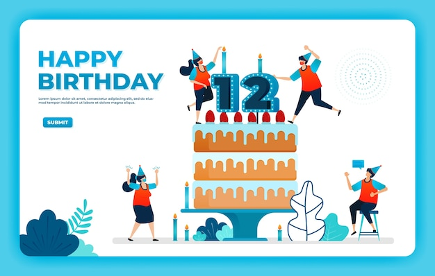 Birthday vector illustration with health protocol.
