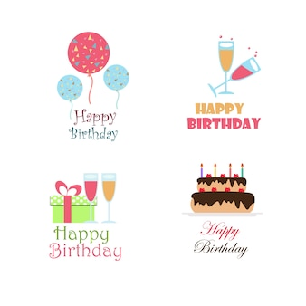 Birthday vector logo design collection