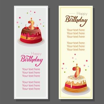 День рождения вертикальный баннер с торт ко дню рождения Premium векторы