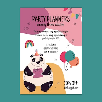 Birthday vertical flyer template with animals