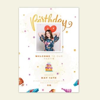 Birthday vertical flyer template