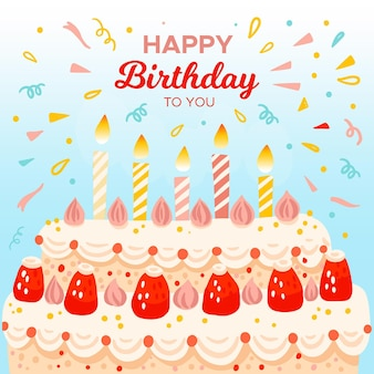 Birthday wallpaper theme Free Vector