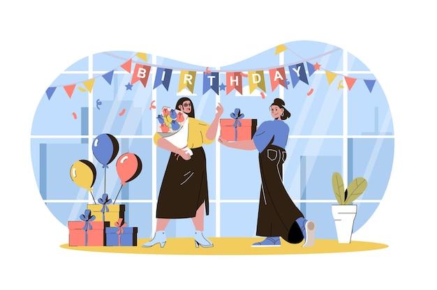 생일 웹 개념 여자는 축제에서 휴가를 축하하는 그녀의 친구에게 선물과 꽃다발을 제공합니다