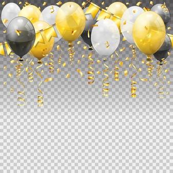 風船、金色のストリーマーツイストリボンフラグで誕生日。誕生日のカーニバル、クリスマスパーティー、透明な風船で新年の装飾。透明な背景に孤立したベクトル図