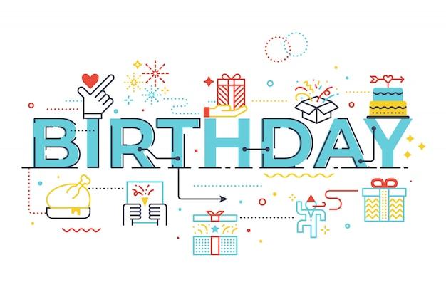 Birthday word lettering illustration