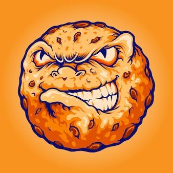 Biscuit chocolate logo angry cookiesあなたの仕事のロゴ、マスコット商品のtシャツ、ステッカーとラベルのデザイン、ポスター、企業やブランドを宣伝するグリーティングカードのベクトルイラスト。