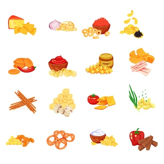 Biscuit cookie cartoon icon set