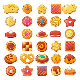 Biscuit cookies icons set