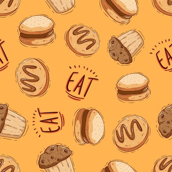 Biscuit and cup cake seamless pattern with doodle style