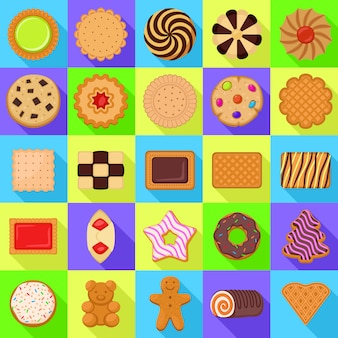 Biscuit icons set