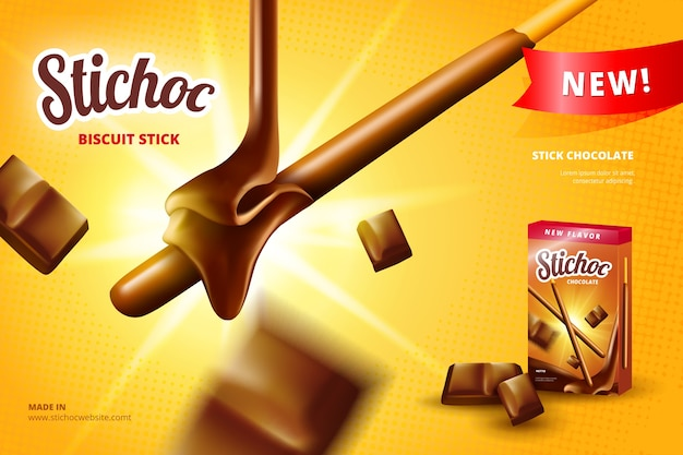 Biscuit stick realistic ad