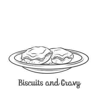 Значок наброски печенья и подливки. нарисованное американское печенье, покрытое густой белой колбасной подливкой.