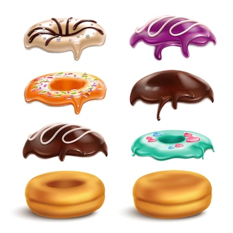Biscuits donuts cookies frosting variations constructor realistic set with chocolate icing mint orange caramel glaze vector illustration