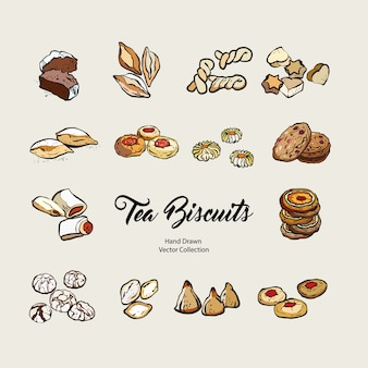 Biscuits isolated hand drawn vector set, line old style. vector tea biscuits, cookies for cooking