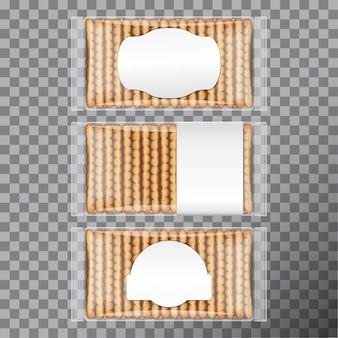さまざまなラベルが付いた透明なプラスチックで包まれたビスケットパック。クッキー用のパッケージセット。図