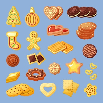 Biscuits, snacks, bakery products flat illustrations set. sweet-stuff, cookies and waffles, gingerbread color collection.
