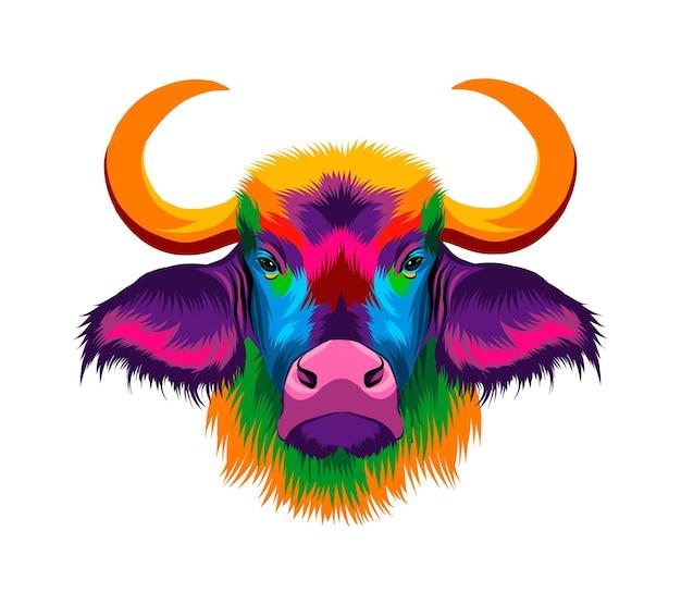 Портрет головы бизона африканского буйвола из разноцветных красок всплеск акварельного цветного рисунка