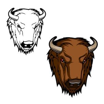 Bison or buffalo bull mascot of mammal animal head