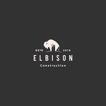 Bison construction building logo