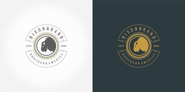 Bison head logo emblem vector illustration silhouette for shirt or print stamp. vintage typography badge or label design.