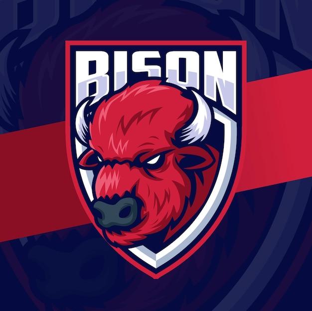 バイソンヘッドマスコットeスポーツロゴデザインキャラクターシールド付きスポーツとゲームのための素晴らしいロゴ