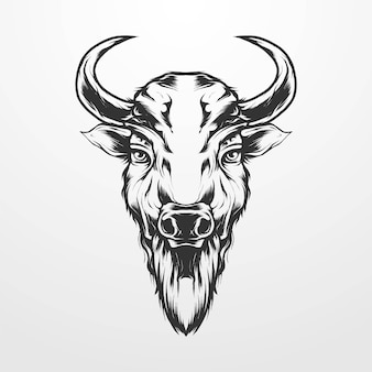 Bison head vector illustration in vintage, isolated old classic monochrome style. suitable for t-shirts, prints, logos and other apparel products