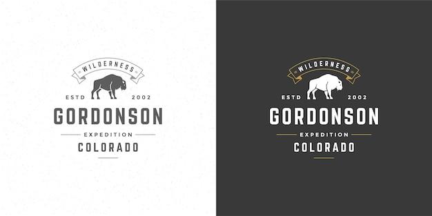 Bison logo emblem vector illustration silhouette for shirt or print stamp. vintage typography badge or label design.