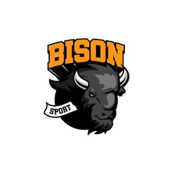 Bison logo template design sport