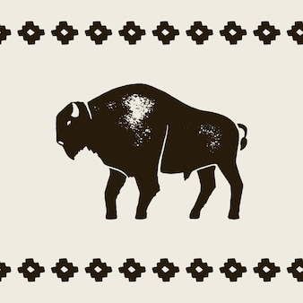 Bison silhouette icon. vector hand draw bison symbol of america in retro style with grunge texture on a light background. template for logo steak house, farm, t-shirt print and other.
