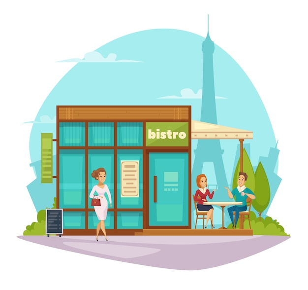 Bistro cafe terrace flat composition
