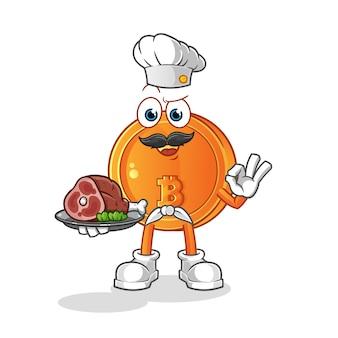 고기 마스코트와 비트 코인 요리사. 만화 벡터